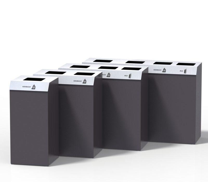 Recyclingstation C-Bin-Serie, Wertstofftrenner, Fraktionen, public waste bins, Entsorgungsberatung, Poubelle recyclage